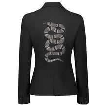 Load image into Gallery viewer, Hipchik Snake Silver Studded Black Blazer - Hipchik