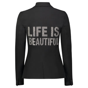 Hipchik Life Is Beautiful Silver Studded Black Blazer - Hipchik