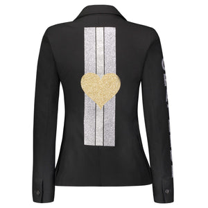 Hipchik Heart Gold Studded With Silver Stripes Black Blazer - Hipchik