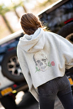 Load image into Gallery viewer, Hipchik Rose Skull Reverse Weave Crop Sweatshirt