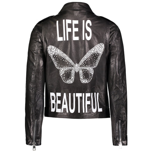 Hipchik Life Is Beautiful Crystal Butterfly Leather Motorcycle Jacket - Hipchik