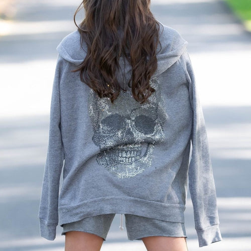 Big Crystal Skull Zip up Fleece Sweatshirt