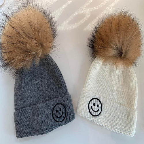 Hipchik Smiley Winter Hat with Fur Puff