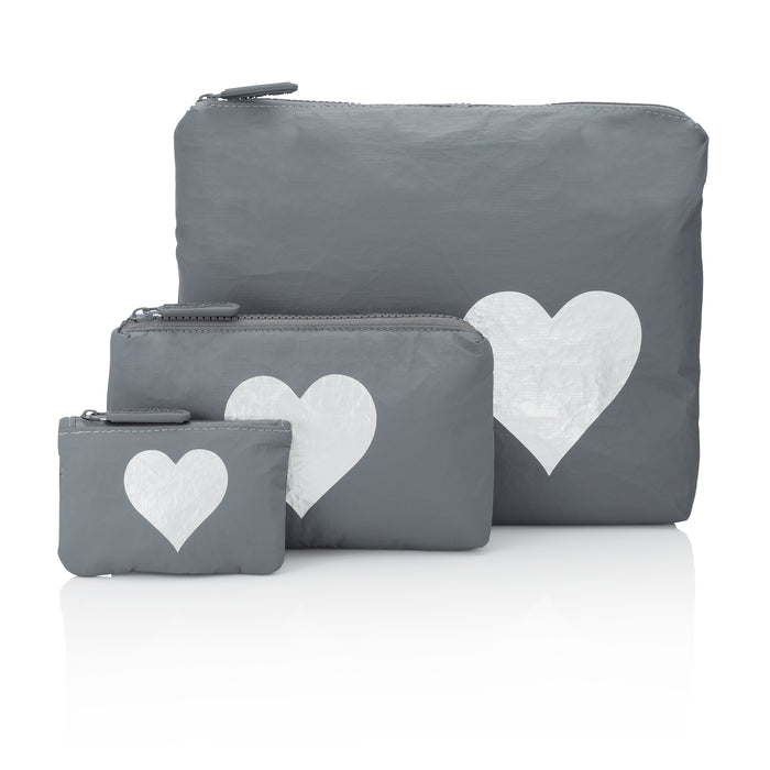 Three Pack Cool Gray Collection with Metallic Silver Heart