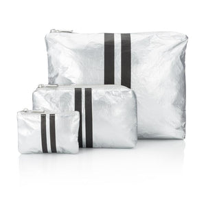 Hipchik Three Pack Metallic Silver Collection with Black Lines