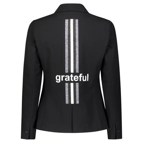 """Grateful Monogram"" Black Blazer - HIPCHIK"