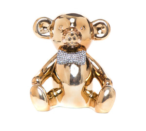 "Interior Illusions Plus Bronze Bear with Rhinestone Bow Tie Bank - 8.5"" tall"