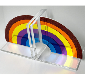 Hipchik Pop Rainbow Acrylic Lucite Bookends - Hipchik
