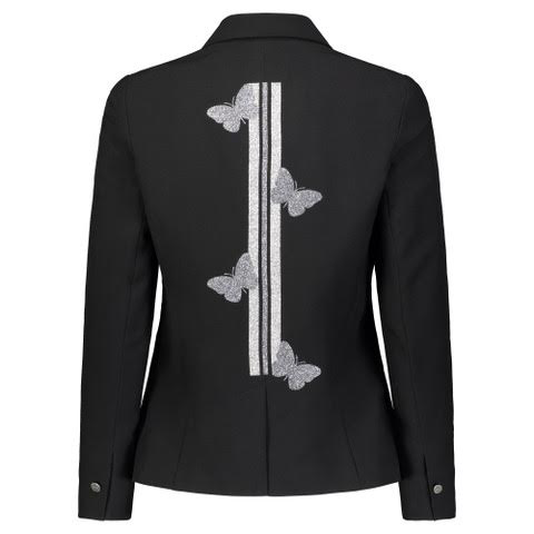 """Silver Butterflies with Lines"" Black Blazer - HIPCHIK"