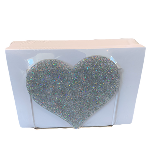PASTEL GLITTER HEART NOTE HOLDER
