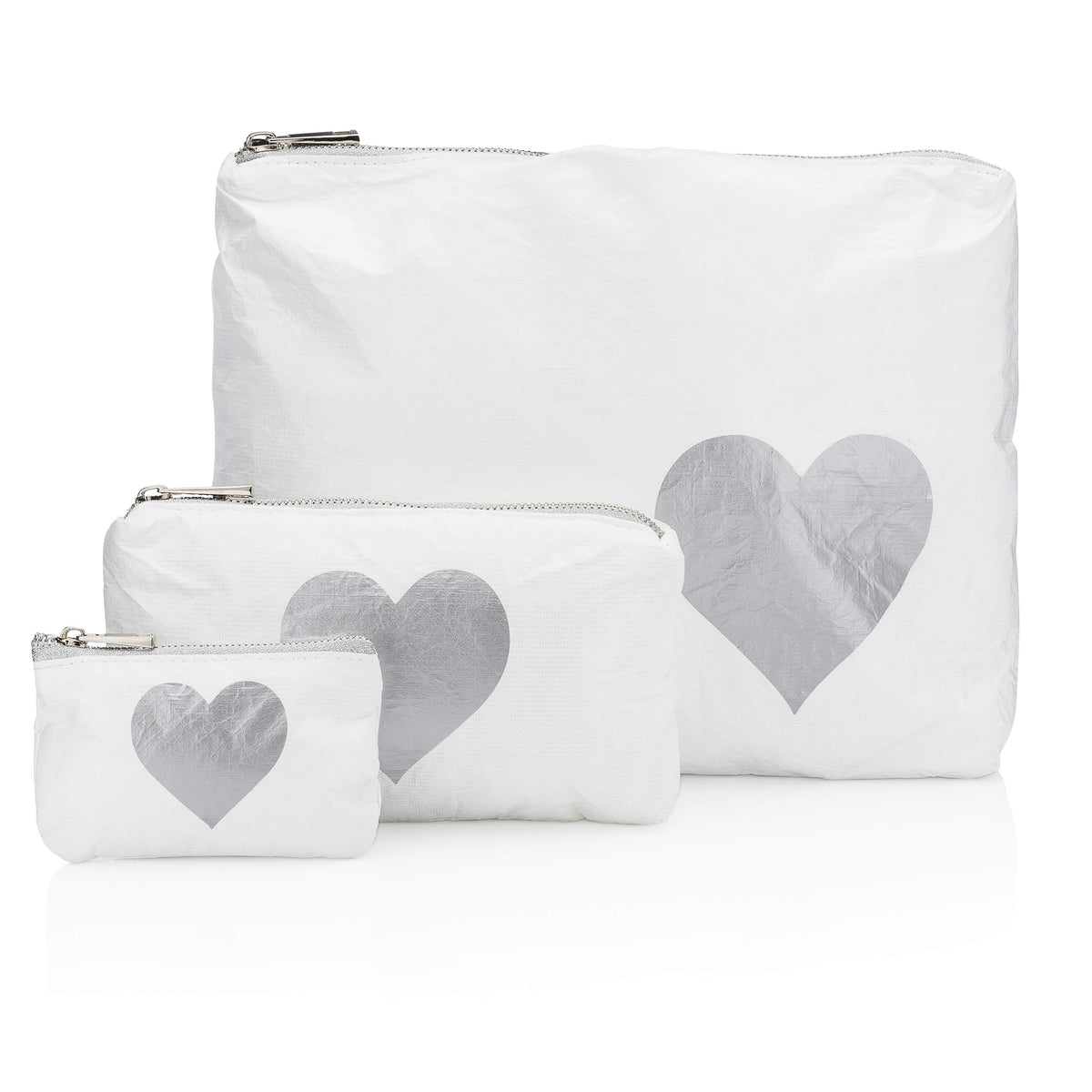 Three Pack White Collection with Metallic Silver Heart