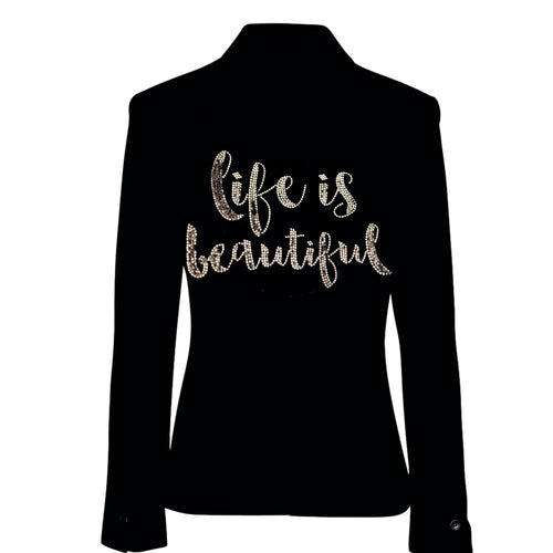 Hipchik Life Is Beautiful Script Studded Black Blazer