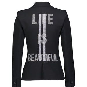 Hipchik Life Is Beautiful Studded With Silver Stripes Black Blazer