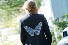 Load image into Gallery viewer, Hipchik Blue Butterfly Black Blazer