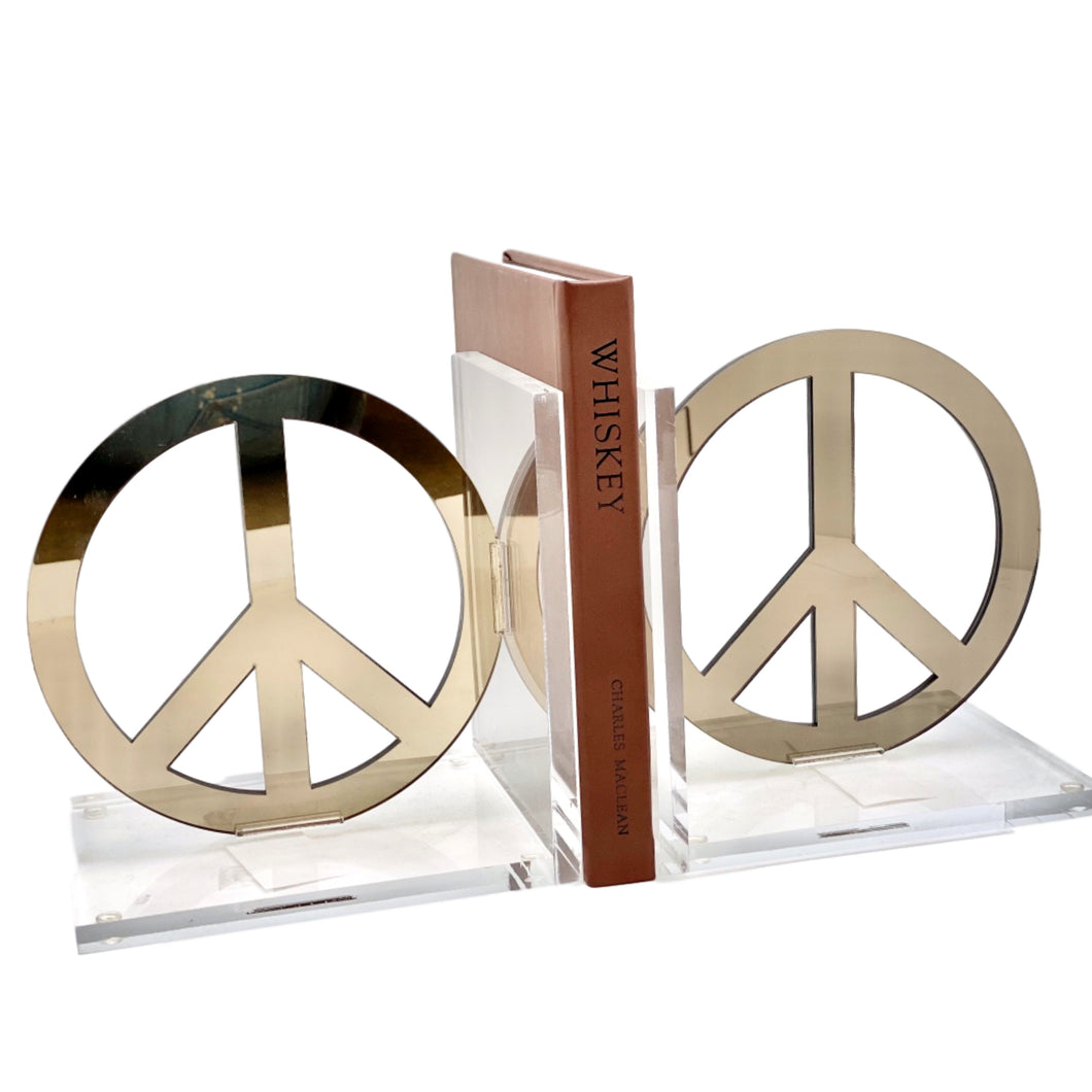 Peace Acrylic Lucite Bookends