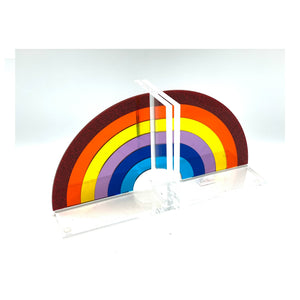 Rainbow Acrylic Lucite Bookends
