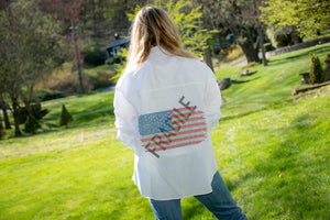 Hipchik USA Flag Fragile White Shirt