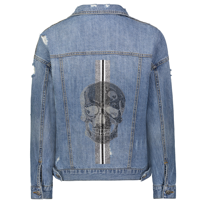 """CRYSTAL SKULL"" with stripes Denim Jacket - HIPCHIK"