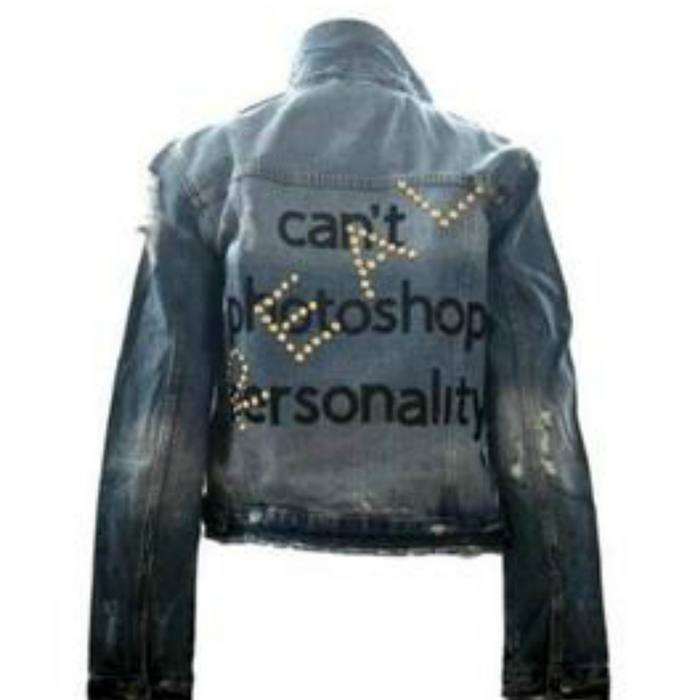 """CAN'T PHOTOSHOP PERSONALITY"" Denim Jean Jacket - HIPCHIK"