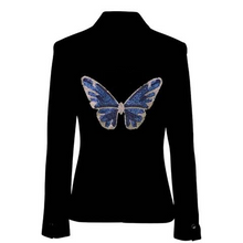Load image into Gallery viewer, Hipchik Blue Butterfly Black Blazer - Hipchik