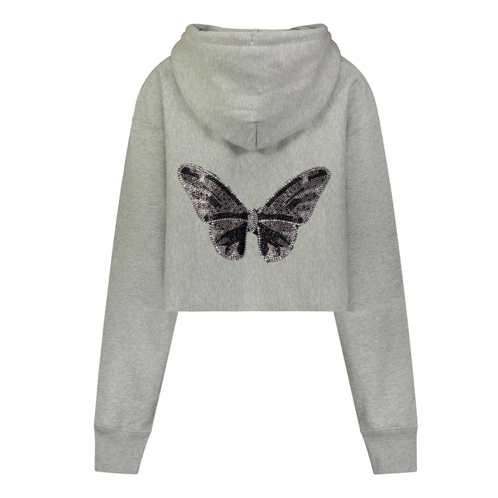 """CRYSTAL BUTTERFLY"" Grey Crop Hooded Sweatshirt"