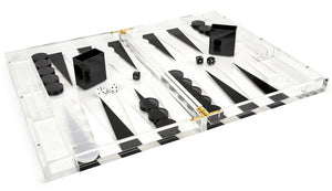 Hipchik Pop Lucite Backgammon Acrylic Black and White - Hipchik