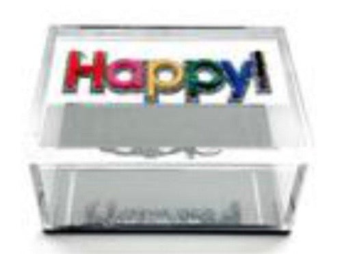 """Happy"", Acrylic Lucite Box"