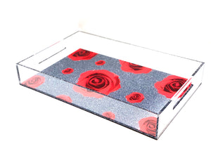 Roses Flowers Acrylic Lucite  Tray