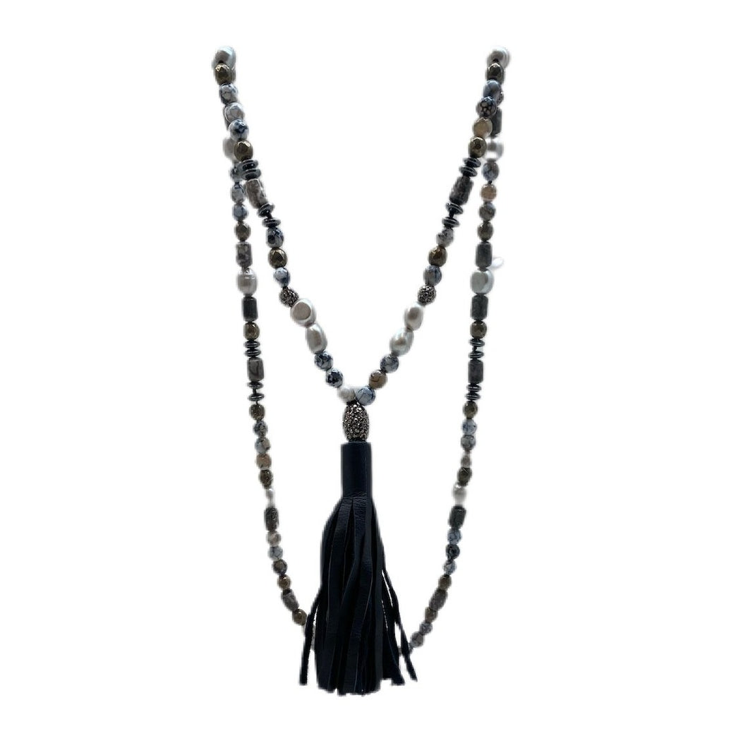 Hipchik Couture Beaded Tassel Necklace