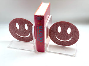 Hipchik Smiley Face Acrylic Lucite Bookends - Hipchik