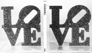 Acrylic Lucite Love Glitter Bookends
