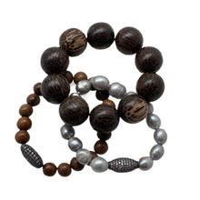 Load image into Gallery viewer, Hipchik Wood & Pearl Bracelet Set of 3