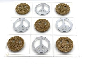 Hipchik Pop Smiley and Peace  Tic Tac Toe  Acrylic Lucite Game