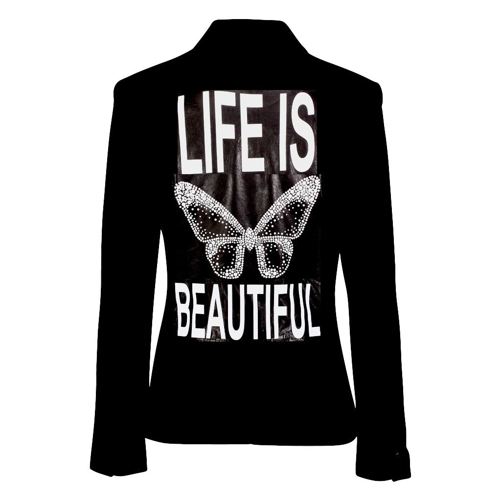 Hipchik Life Is Beautiful Studded Black Blazer