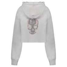 Load image into Gallery viewer, Hipchik Rose Gold Skull Grey Crop Sweatshirt - Hipchik