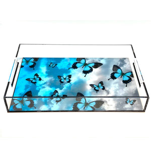 Butterflies Acrylic Lucite Tray