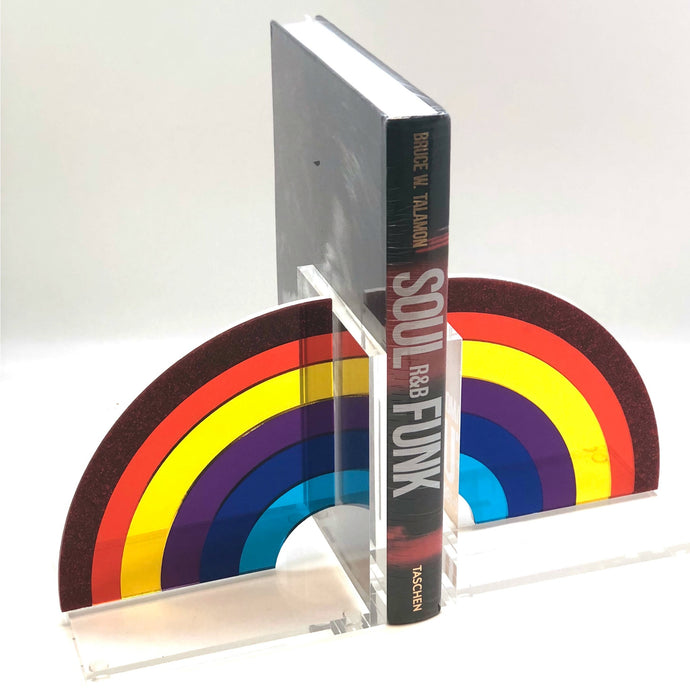 Rainbow Acrylic Lucite Bookends - Hipchik