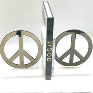 Hipchik Peace Acrylic Lucite Bookends - Hipchik