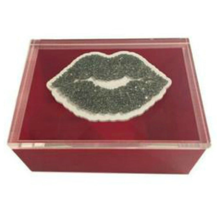 """Lips"", Silver Acrylic Lucite Box"