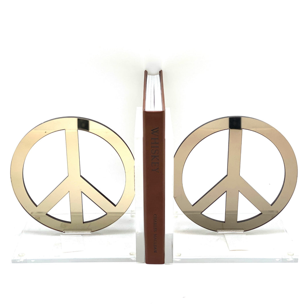 Hipchik Peace Acrylic Lucite Bookends