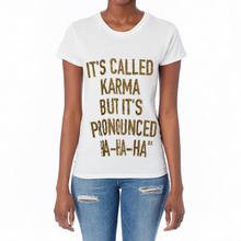 Load image into Gallery viewer, Hipchik Crew White Karma Gold Tee