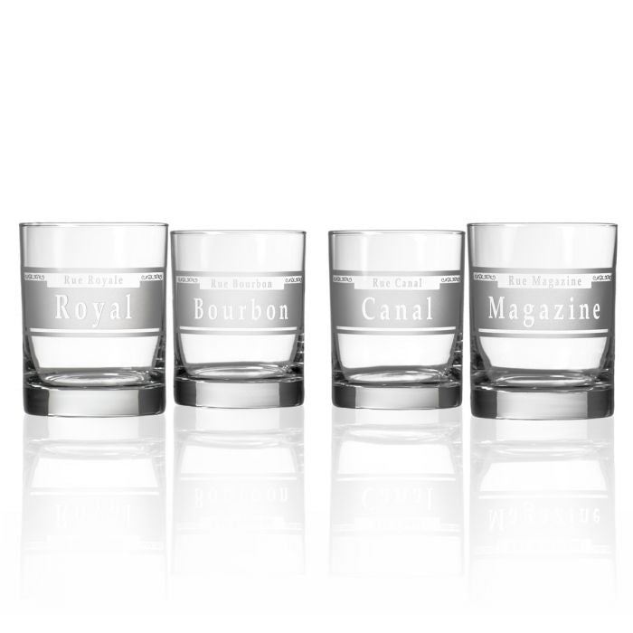 Hipchik Home Rue Orleans Double Old Fashioned (Mixed Set of 4)