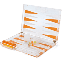 Load image into Gallery viewer, Hipchik Lucite Backgammon Acrylic Clear and Orange