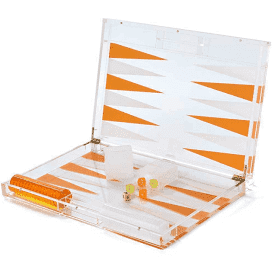 Hipchik Lucite Backgammon Acrylic Clear and Orange