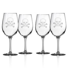 Load image into Gallery viewer, Hipchik Home Skull and Cross Bones All Purpose Wine (Set of 4 Glasses)