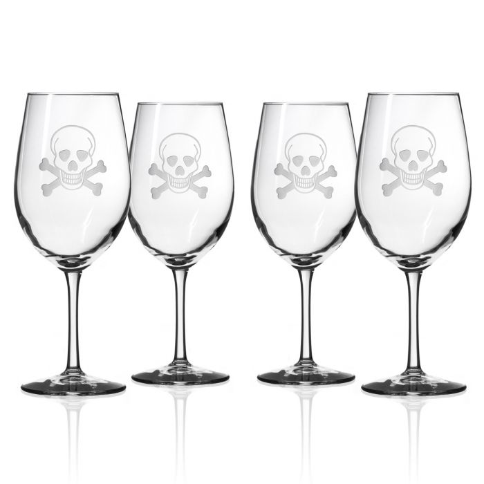 Hipchik Home Skull and Cross Bones All Purpose Wine (Set of 4 Glasses)