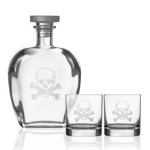Load image into Gallery viewer, Hipchik Home Skull and Cross Bones Whiskey Decanter and Rocks Glasses (3 Piece Gift Set)