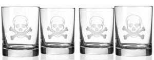 Hipchik Home Skull and Cross Bones Double Old Fashioned (Set of 4 Glasses)