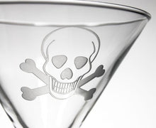 Load image into Gallery viewer, Hipchik Home Skull and Cross Bones Martini (Set of 4 Glasses)