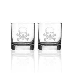 Hipchik Home Skull and Cross Bones Whiskey Decanter and Rocks Glasses (3 Piece Gift Set)